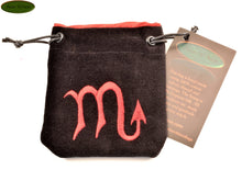 Scorpio - Small All Natural Cotton Velvet and Silk Pendulum or Crystal bag - Aeon Moon