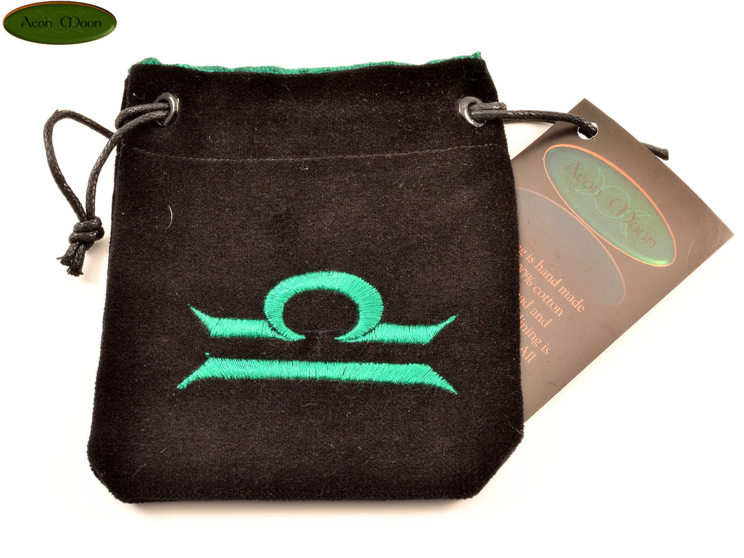 Libra - Small All Natural Cotton Velvet and Silk Pendulum or Crystal bag - Aeon Moon