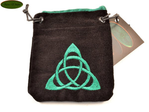 Triquetra - Small All Natural Cotton Velvet and Silk Pendulum or Crystal bag - Aeon Moon