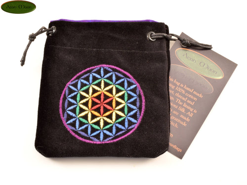 Flower of Life - Small All Natural Cotton Velvet and Silk Pendulum or Crystal bag - Aeon Moon