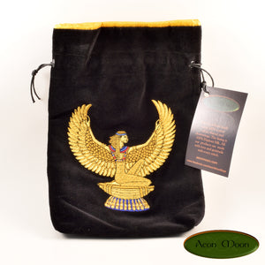 Isis (black)- All Natural Cotton Velvet and Silk Tarot, Oracle, or Crystal bag (Deluxe Large) - Aeon Moon