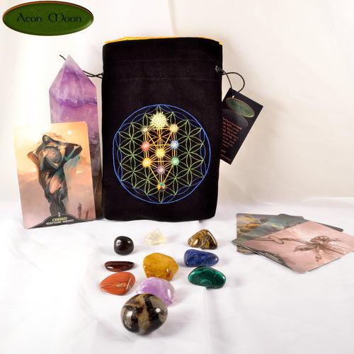 NEW*** Tree of Life of the Kabbalah - All Natural Cotton Velvet and Silk Tarot, Oracle, or Crystal bag (Deluxe Large)