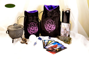 Lotus Phases - All Natural Cotton Velvet and Silk Tarot, Oracle, or Crystal bag