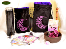 Lunar roses - All Natural Cotton Velvet and Silk Tarot, Oracle, or Crystal bag - Aeon Moon