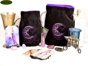 Mehndi Moon- All Natural Cotton Velvet and Silk Tarot, Oracle, or Crystal bag