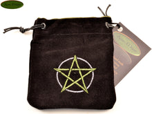 Pentagram - Small All Natural Cotton Velvet and Silk Pendulum or Crystal bag - Aeon Moon