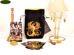 Phoenix - All Natural Cotton Velvet and Silk Tarot, Oracle, or Crystal bag - Aeon Moon