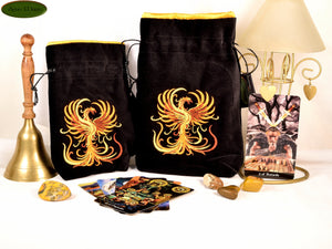 Phoenix - All Natural Cotton Velvet and Silk Tarot, Oracle, or Crystal bag