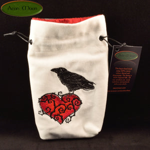 Ravenheart - All Natural Cotton Velvet and Silk Tarot, Oracle, or Crystal bag - Aeon Moon