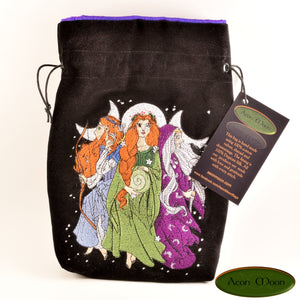 Triple Goddess -All Natural Cotton Velvet and Silk Tarot, Oracle, or Crystal bag (Deluxe Large) - Aeon Moon