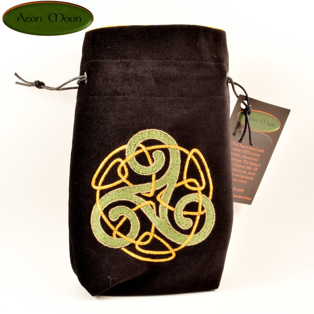 Triskele - All Natural Cotton Velvet and Silk Tarot, Oracle, or Crystal bag - Aeon Moon