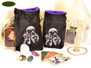 Wolf Trio - All Natural Cotton Velvet and Silk Tarot, Oracle, or Crystal bag