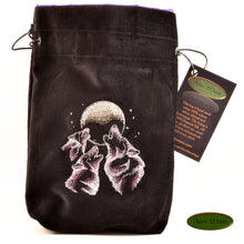 Wolf Trio - All Natural Cotton Velvet and Silk Tarot, Oracle, or Crystal bag - Aeon Moon