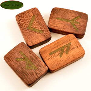 Walnut Norse Runes with Pyrite inlay (WPN1) - Aeon Moon