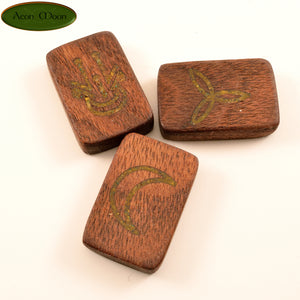 Walnut Witches Runes with Pyrite Inlay (WPW2) - Aeon Moon