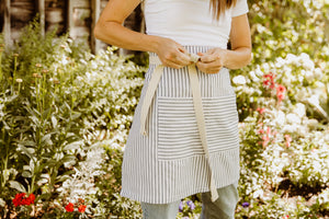 Ticking Bistro Apron w/ Ring Clip