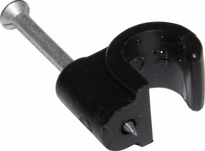 7mm RG6/100 Black Cable Clips - RG Clips 7mm Packs of 5-100