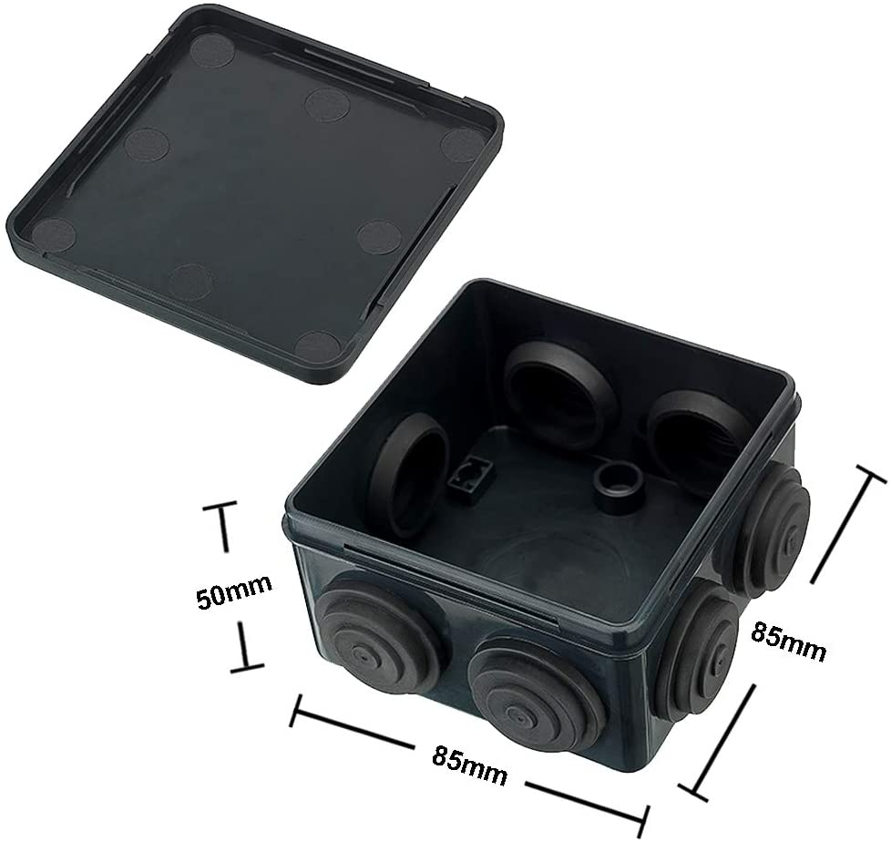 CCTV Junction Box, Outdoor Weatherproof IP55 Terminal Box Black