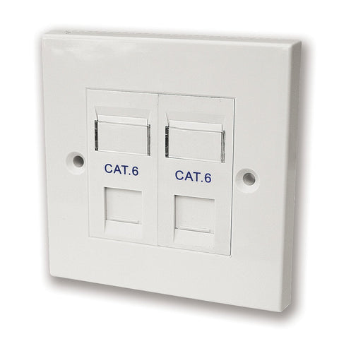 KAUDEN SX7062M/PG CAT6 RJ45 Twin Faceplate - White