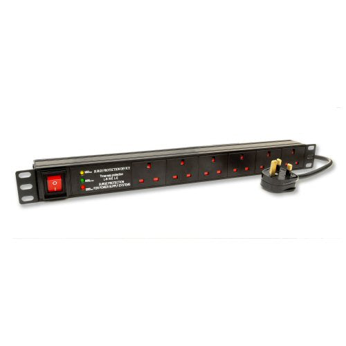 6 Way 13Amp Slimline Surge Protected and Filtered Power Distribution Unit (PDU)