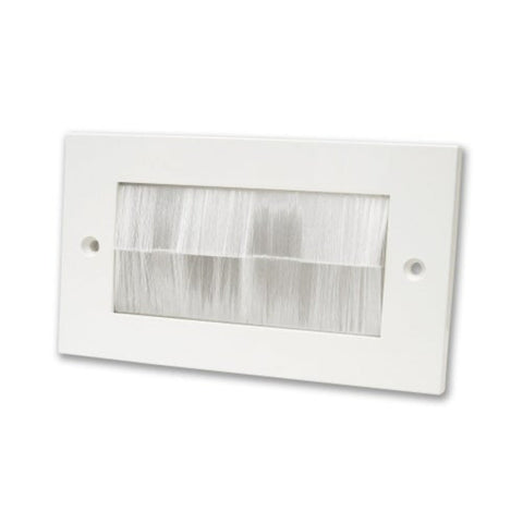 Brush Faceplate, Double Gang, White/Transparent Faceplate White Brushes, Wall Brush Entry Faceplate
