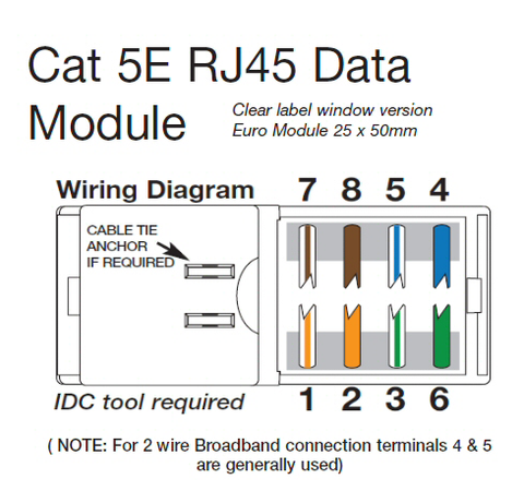 CAT5e RJ45 Data Module 25x50mm