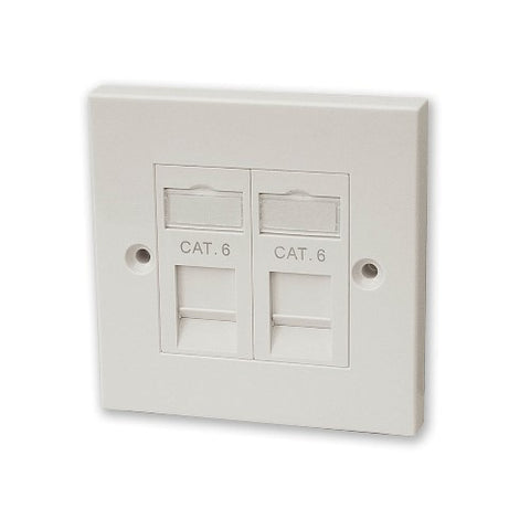 CAT6 RJ45 Twin Faceplate