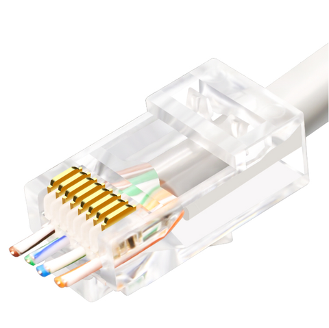 RJ45 Pass Through Plug - EZ Plug Cat6, POE Packs of 10 to 100 (LZC6)