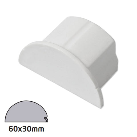 D-Line 60x30 White End Cap Smooth Fit (Clearance)