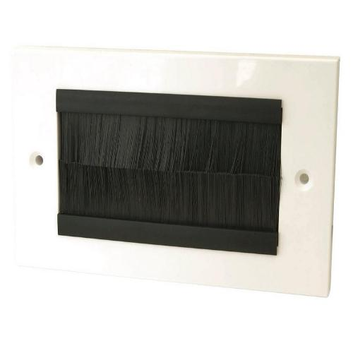 Brush Faceplate, Double Gang, White Faceplate Black Brushes, Wall Brush Entry Faceplate