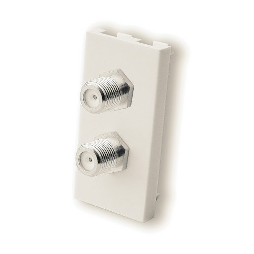 F Type Double Satellite Co-Ax Module Euromodule - White