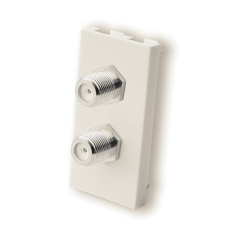 F Type Double Satellite Co-Ax Module Euromodule - White - Bristol Communications
