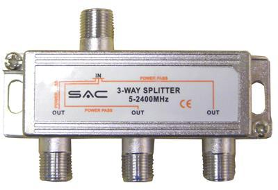 Satellite/Aerial Splitter 3 Way Indoor Splitter (5-2400MHz)