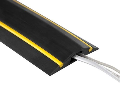 Medium Duty Black and Yellow Floor Cable Cover, Cable Protector 1m - 25m Lengths