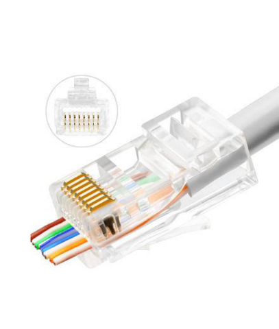 RJ45 Pass Through Plug - EZ Plug Cat5e or Cat6, POE Packs of 10 to 100 (LZC5E)