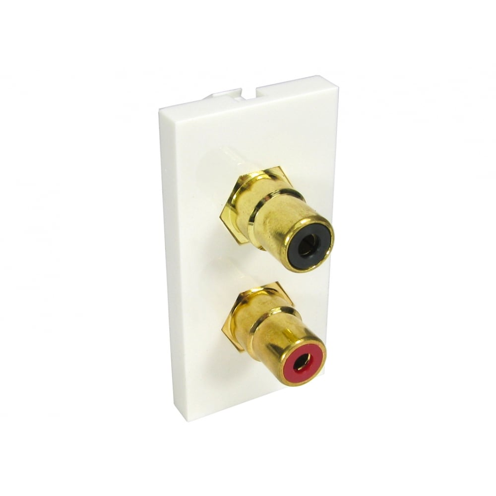 Double RCA Module (Black and Red) Euromodule - White