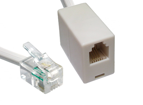 RJ9/RJ10/RJ22 Extension Cable Male to Female - 1m - 20m Lengths White