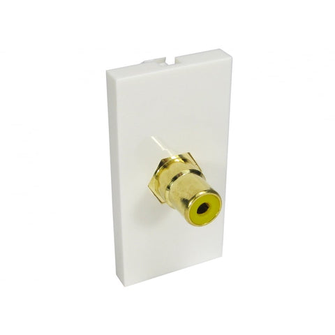 Single RCA Module (Yellow) Euromodule - White - Bristol Communications