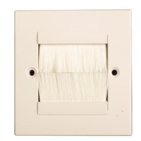 Brush Faceplate, Single Gang, White Faceplate White Brushes, Wall Brush Entry Faceplate
