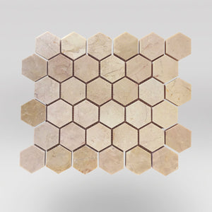 "Bursa Beige Polished Hexagon 2"" Marble Mosaic - BigAppleMarble.com"