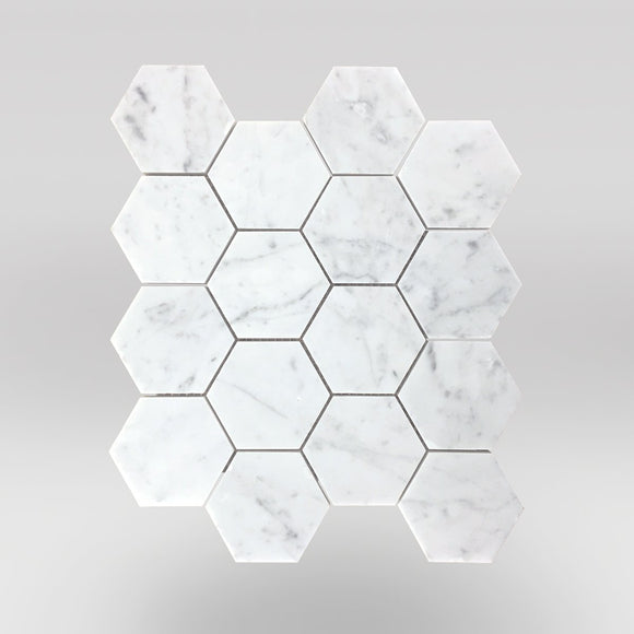 White Carrara Honed Hexagon 3