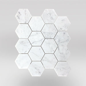 "White Carrara Polished Hexagon 3"" Marble Mosaic - BigAppleMarble.com"