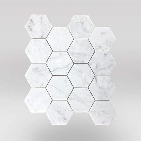 White Carrara Polished Hexagon 3