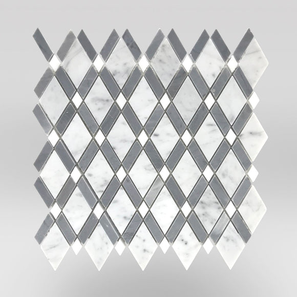 Diamond Mosaic Polished Carrara&Bardiglio Marble Mosaic