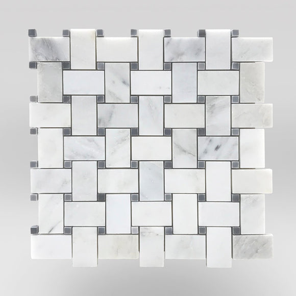 Eastern White/Oriental White Polished Basket Weave with Bardiglio Gray Dots - BigAppleMarble.com