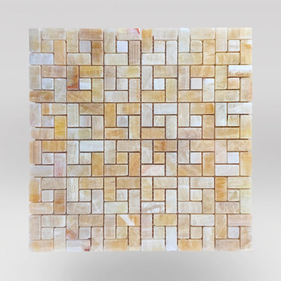 Honey Onyx Polished Target Mosaic Tile - BigAppleMarble.com