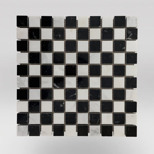 "Nero Marqouina Polished Checker Board 1""x1"" Marble Mosaic - BigAppleMarble.com"