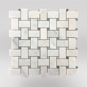 Eastern White/Oriental White Polished Basket Weave with Ming Dots - BigAppleMarble.com