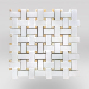 Thassos Polished Basket Weave with Honey ONYX Dots - BigAppleMarble.com
