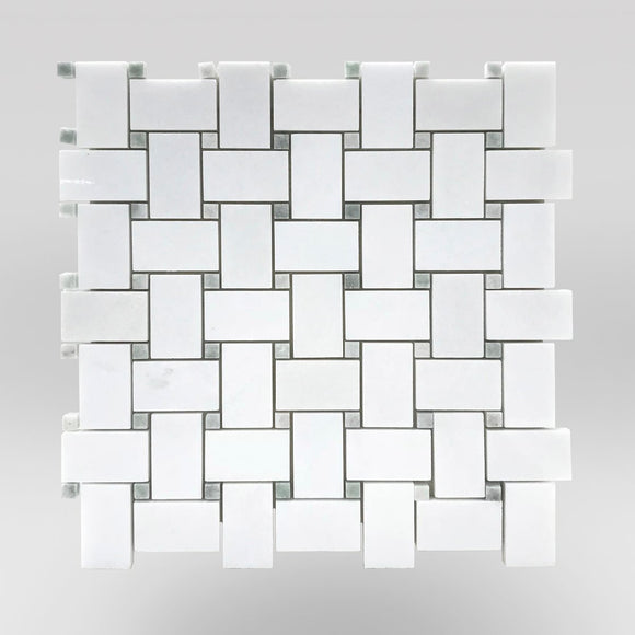 Thassos Polished Basket Weave with Ming Green Dots-BigAppleMarble.com